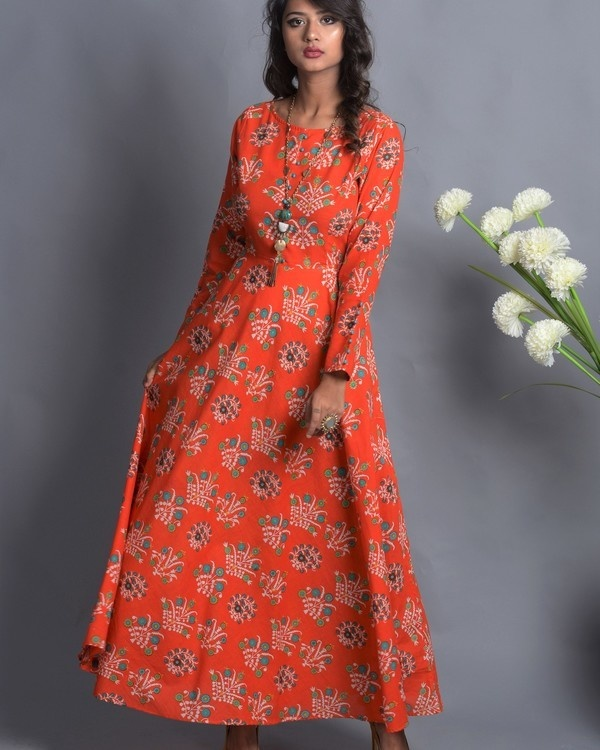 Orange floral flared dress