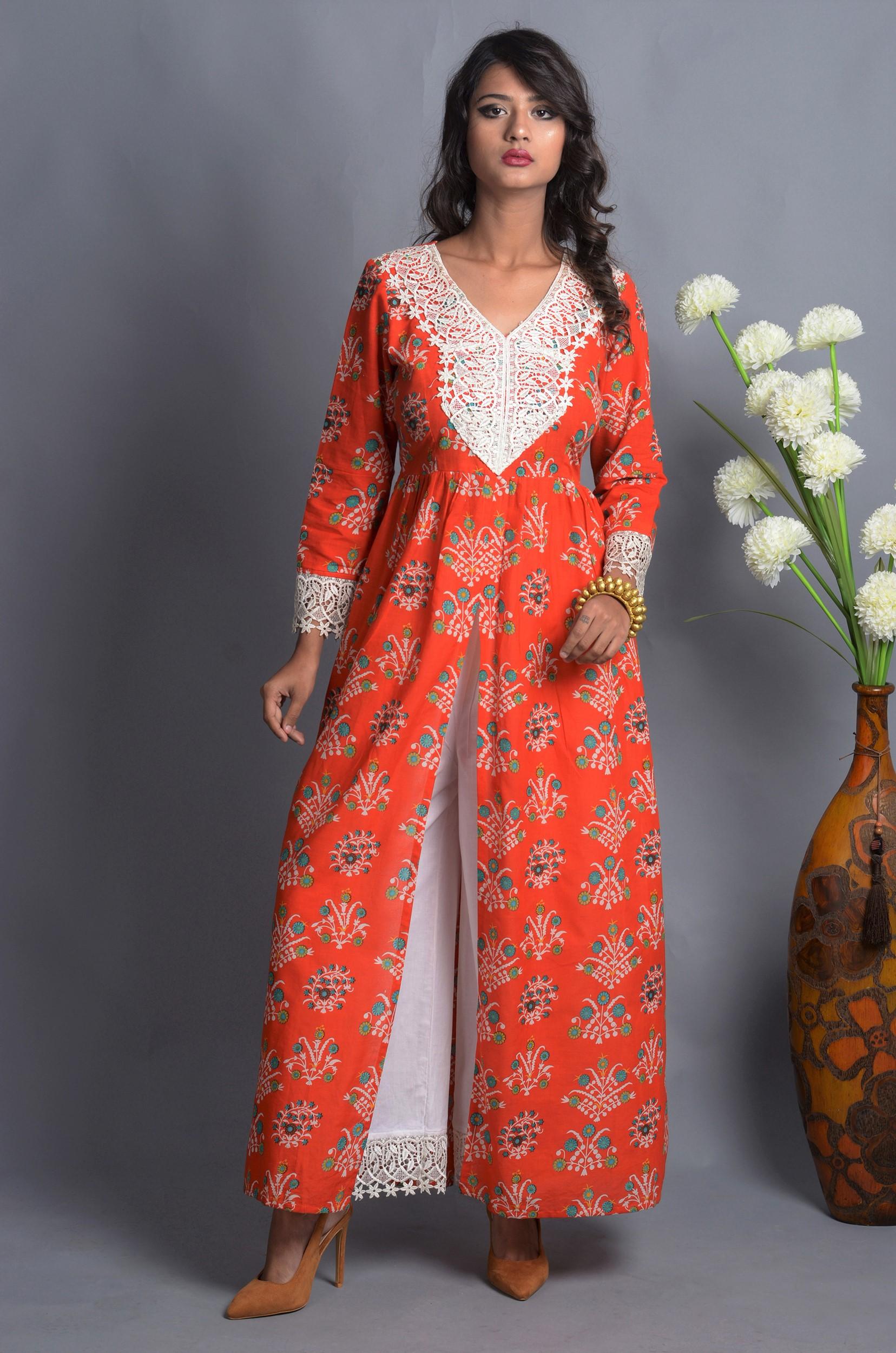 Orange crochet slit kurta with white palazzo