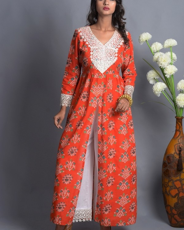 Orange crochet slit kurta with white palazzo