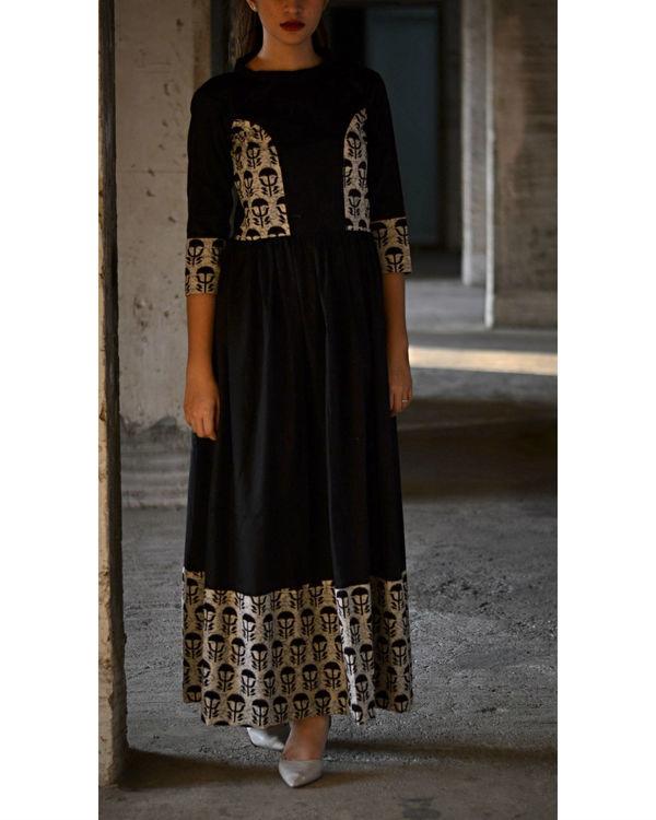 Black and beige block dress