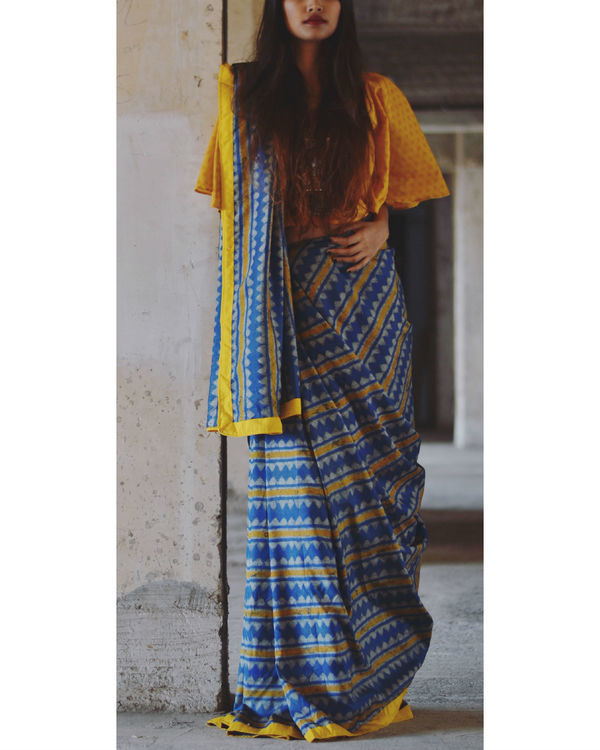 Mustard and blue line saree