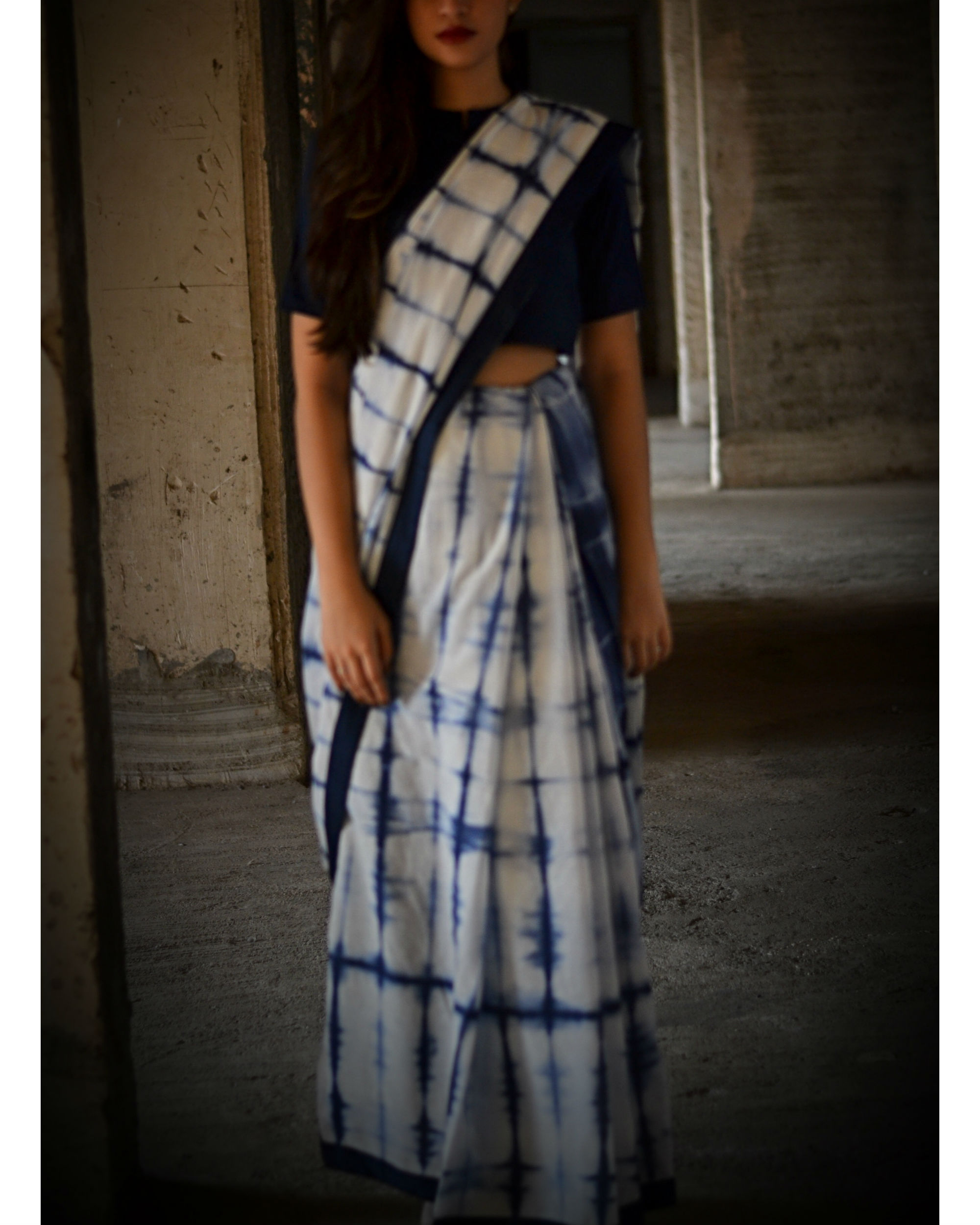 Navy blue tie and dye saree