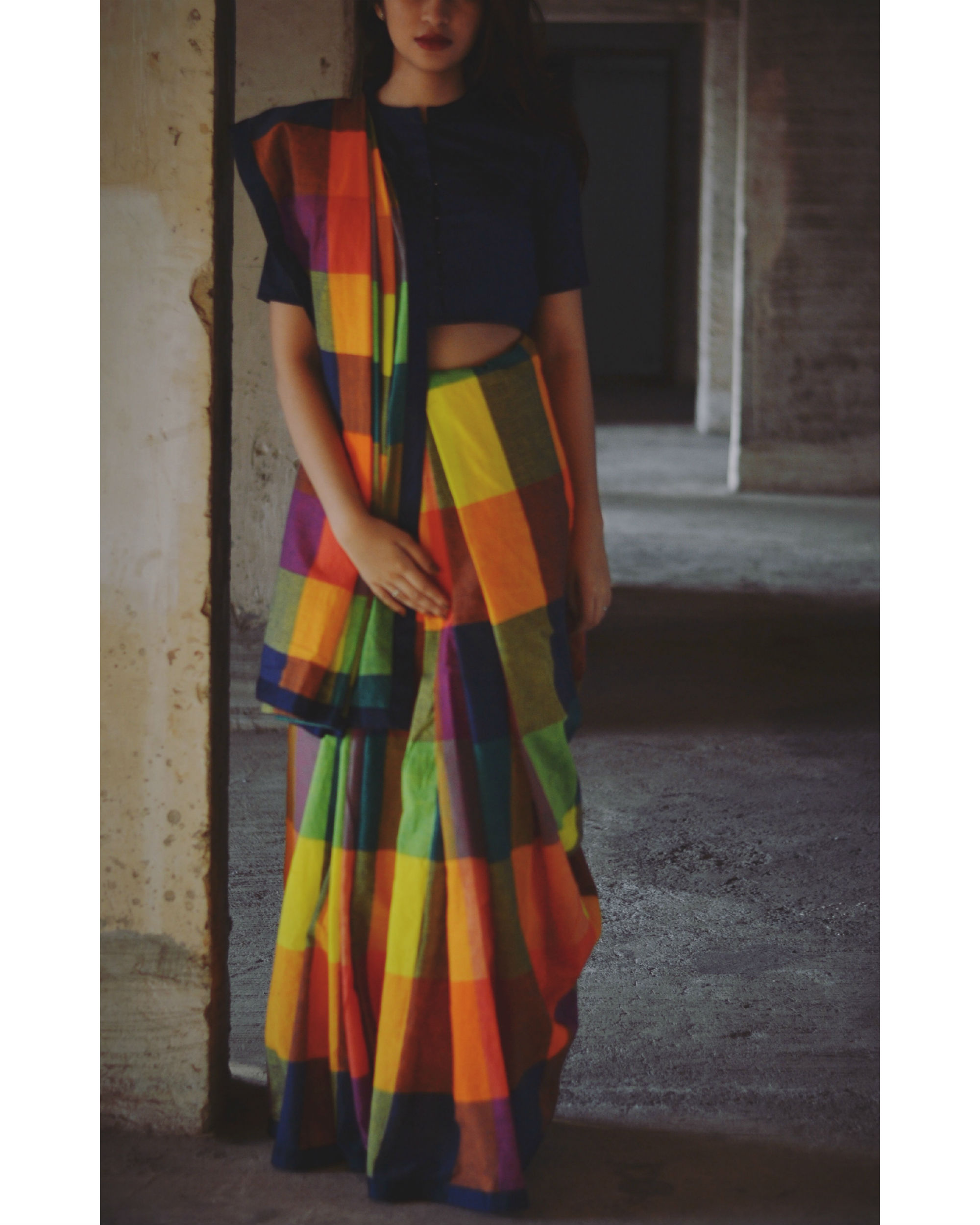 Dawn shades block saree