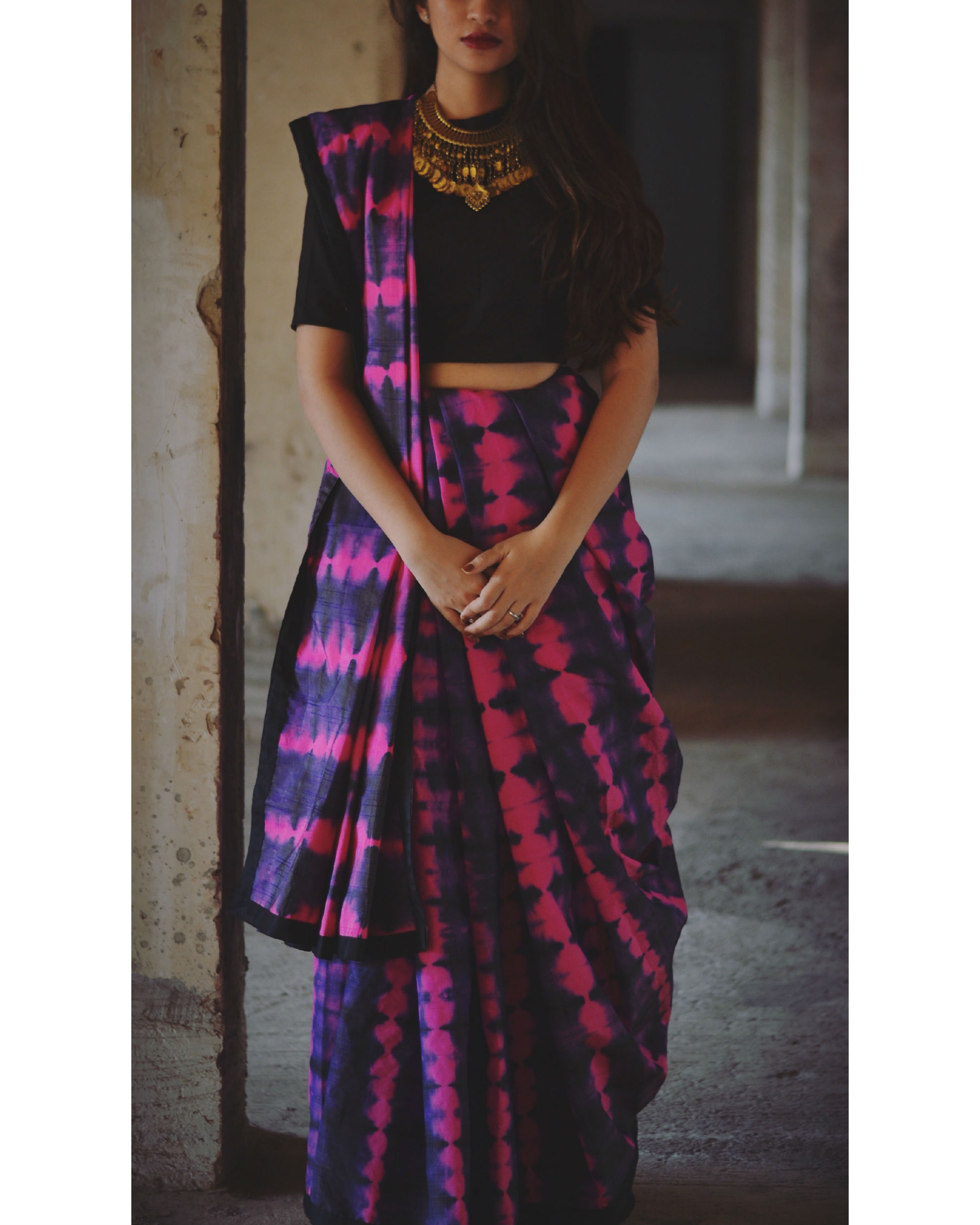 Magenta and violet tie and dye saree