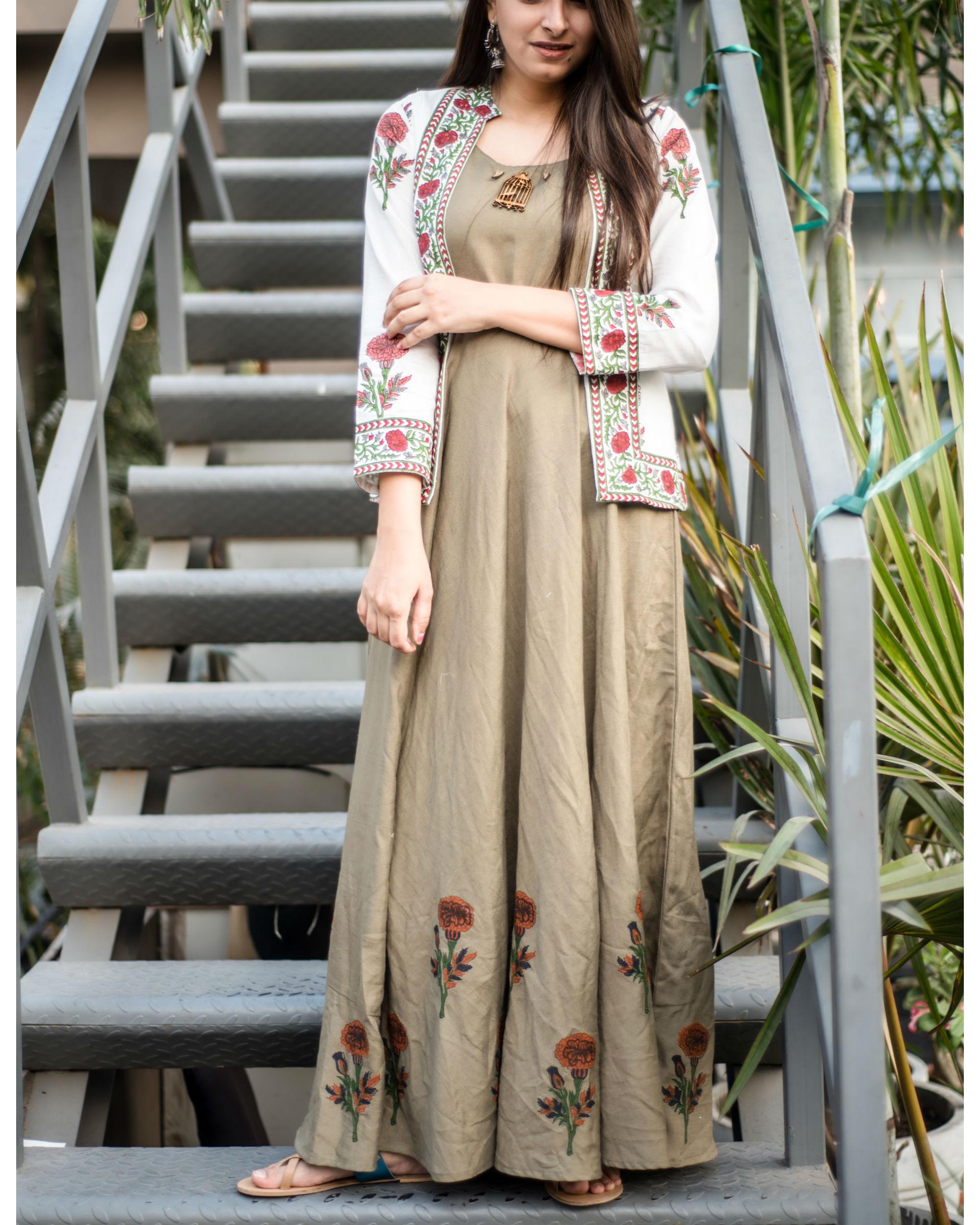 13a8593ed18c8 Khakhi green maxi with block printed jacket by Label Harsha Khatry ...