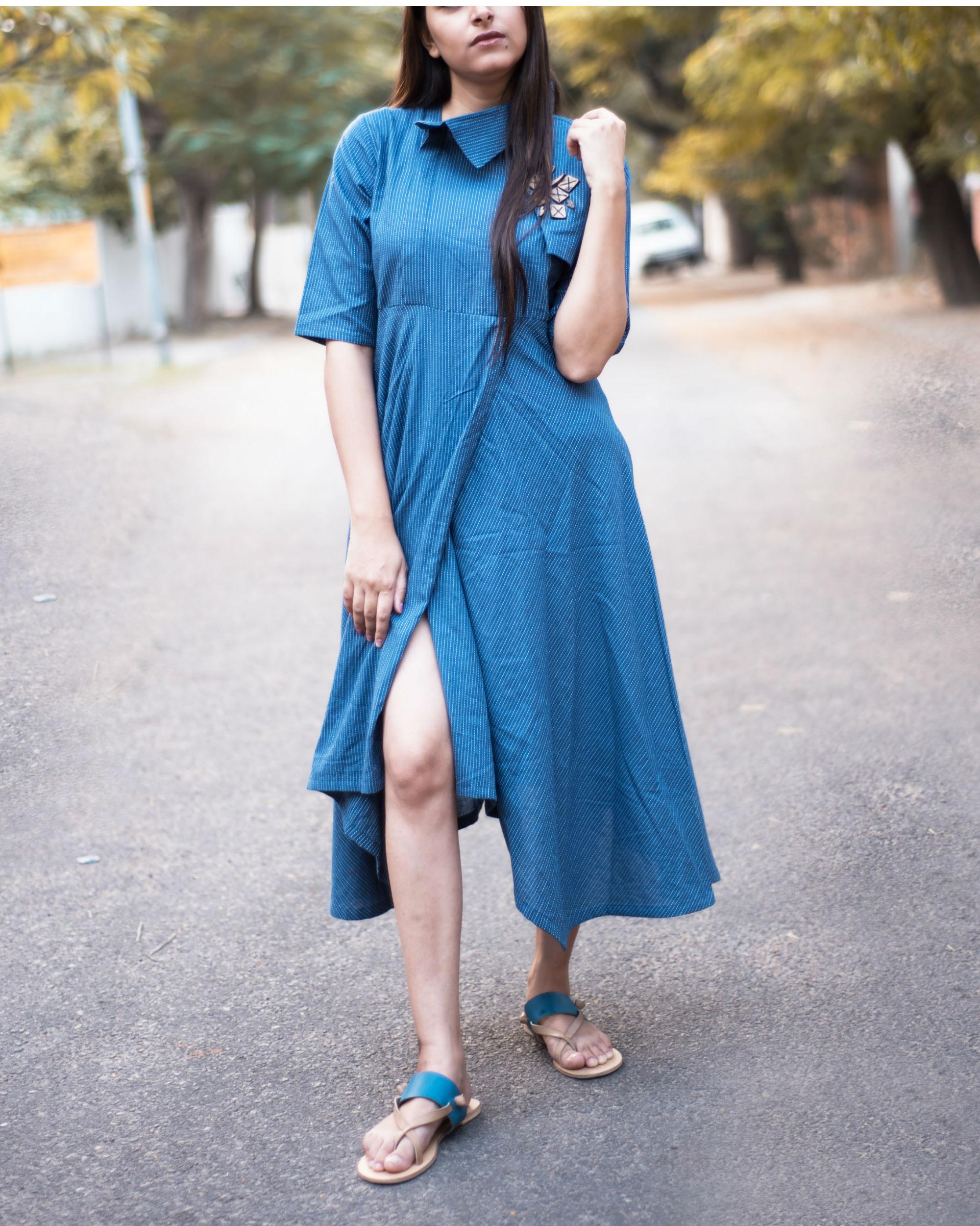 d6751caef80c7 Blue asymmetrical dobi trench tunic by Label Harsha Khatry