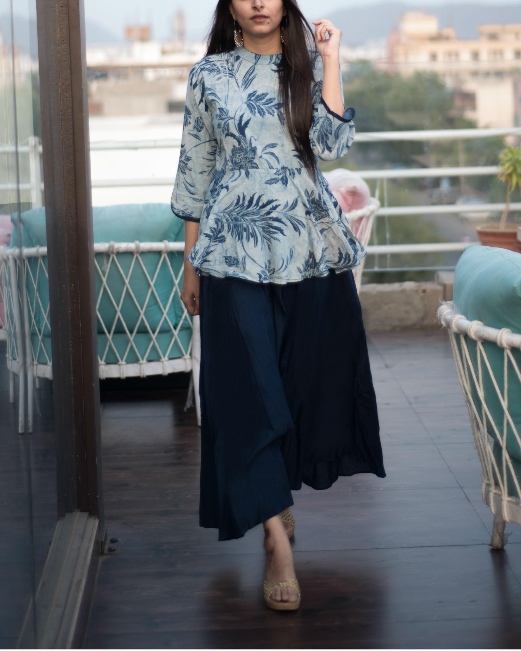 fbdbbe935387e Indigo blue peplum dress by Label Harsha Khatry