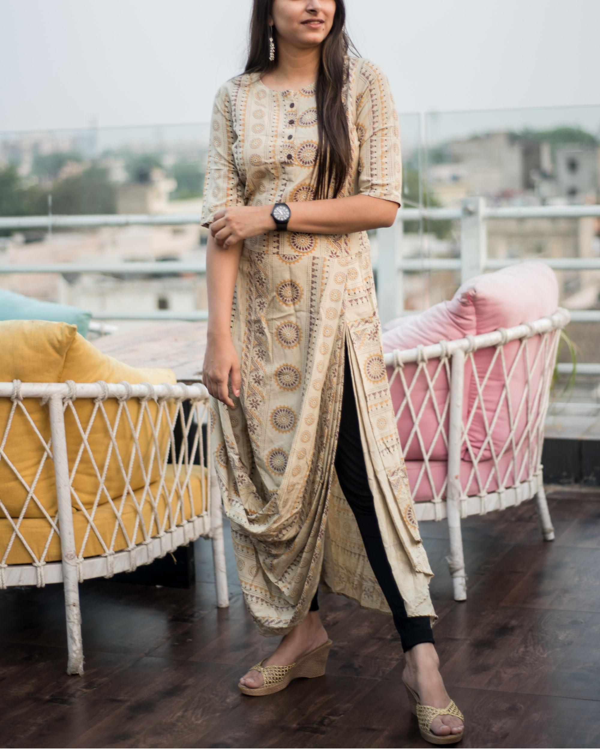 8bef58c0f6c3b Beige cowl dress by Label Harsha Khatry