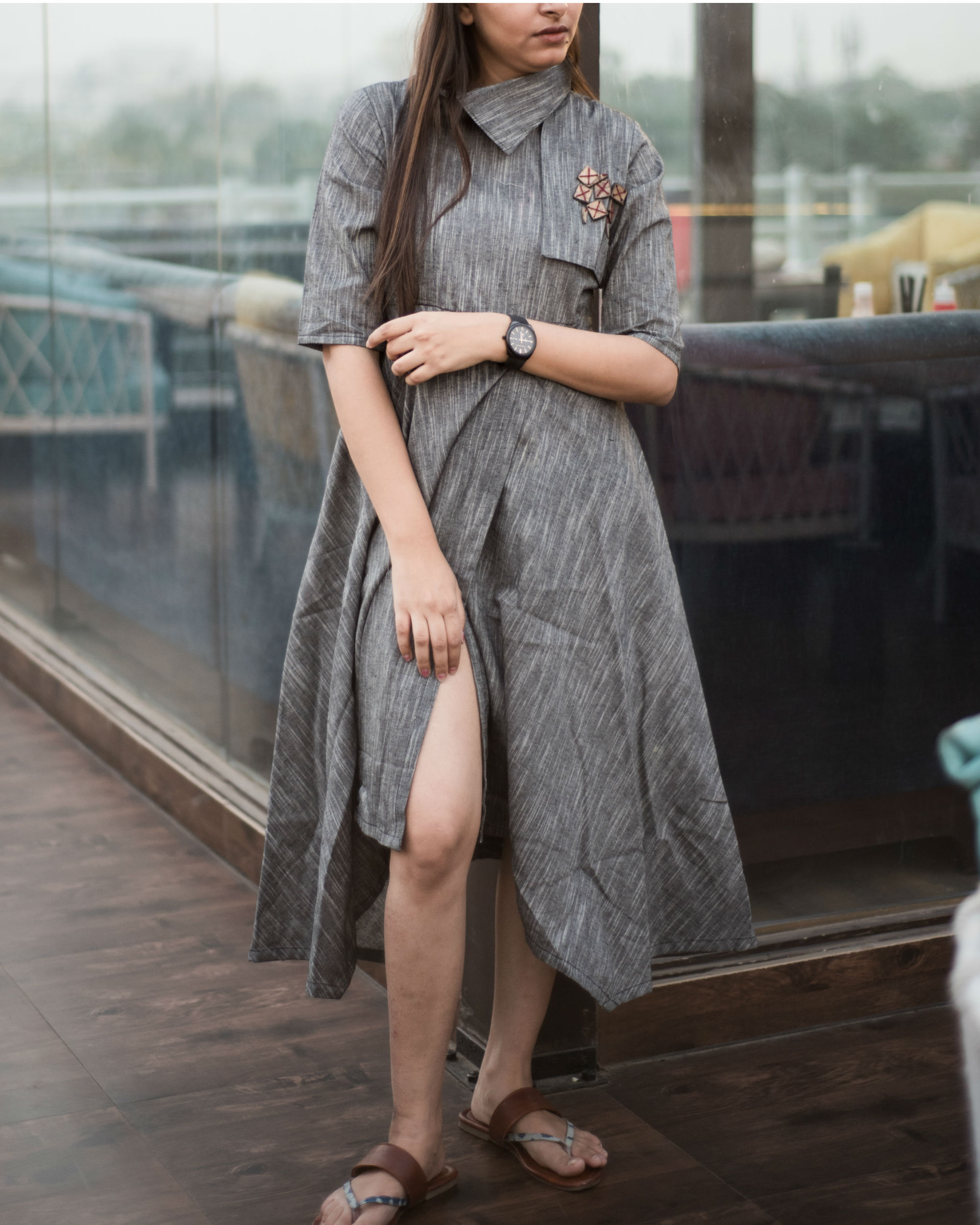 3d7729a7b2660 Ash black asymmetrical dobi trench tunic by Label Harsha Khatry ...