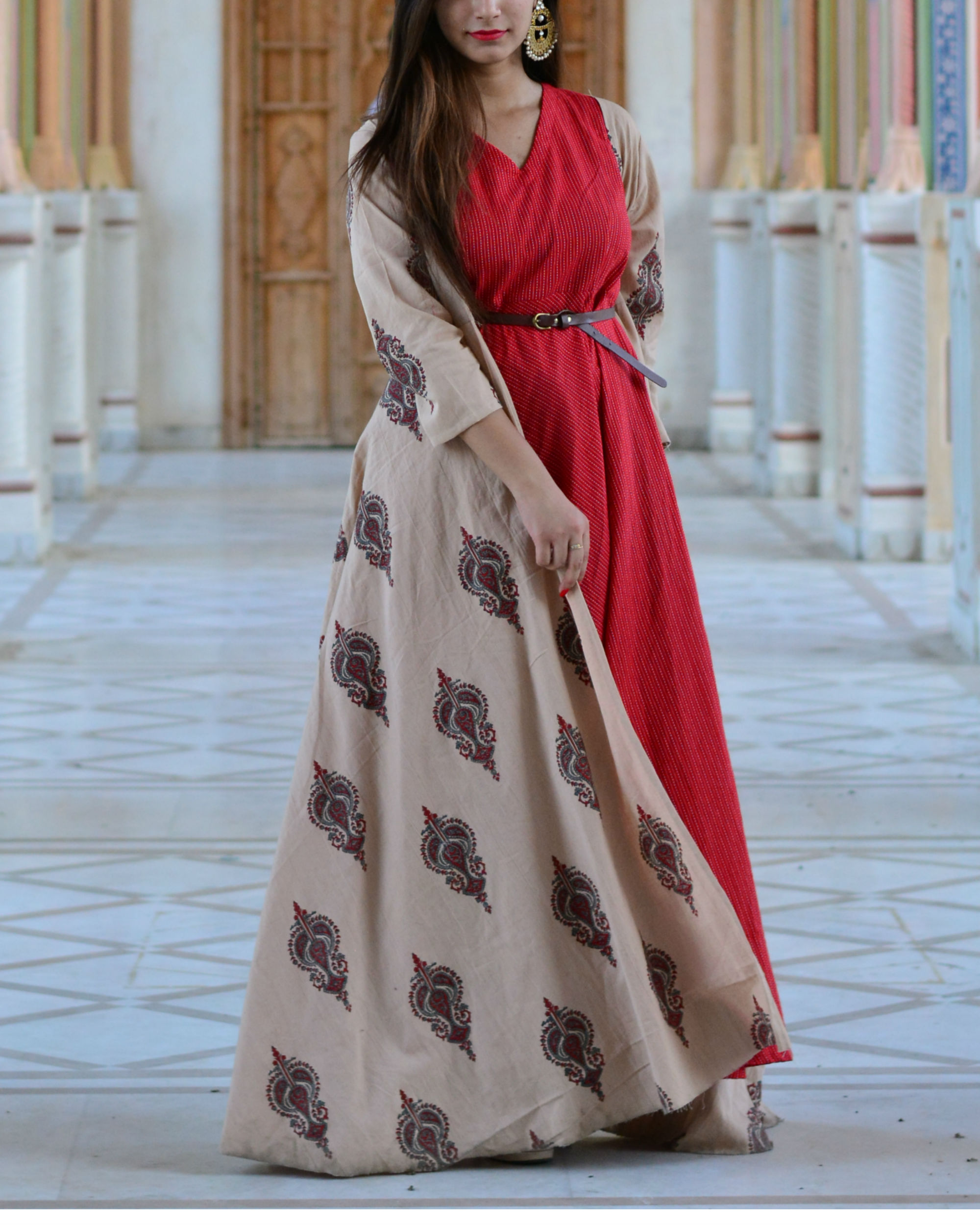 45a78c9ef8a6f Red maxi and peach block printed cape by Label Harsha Khatry