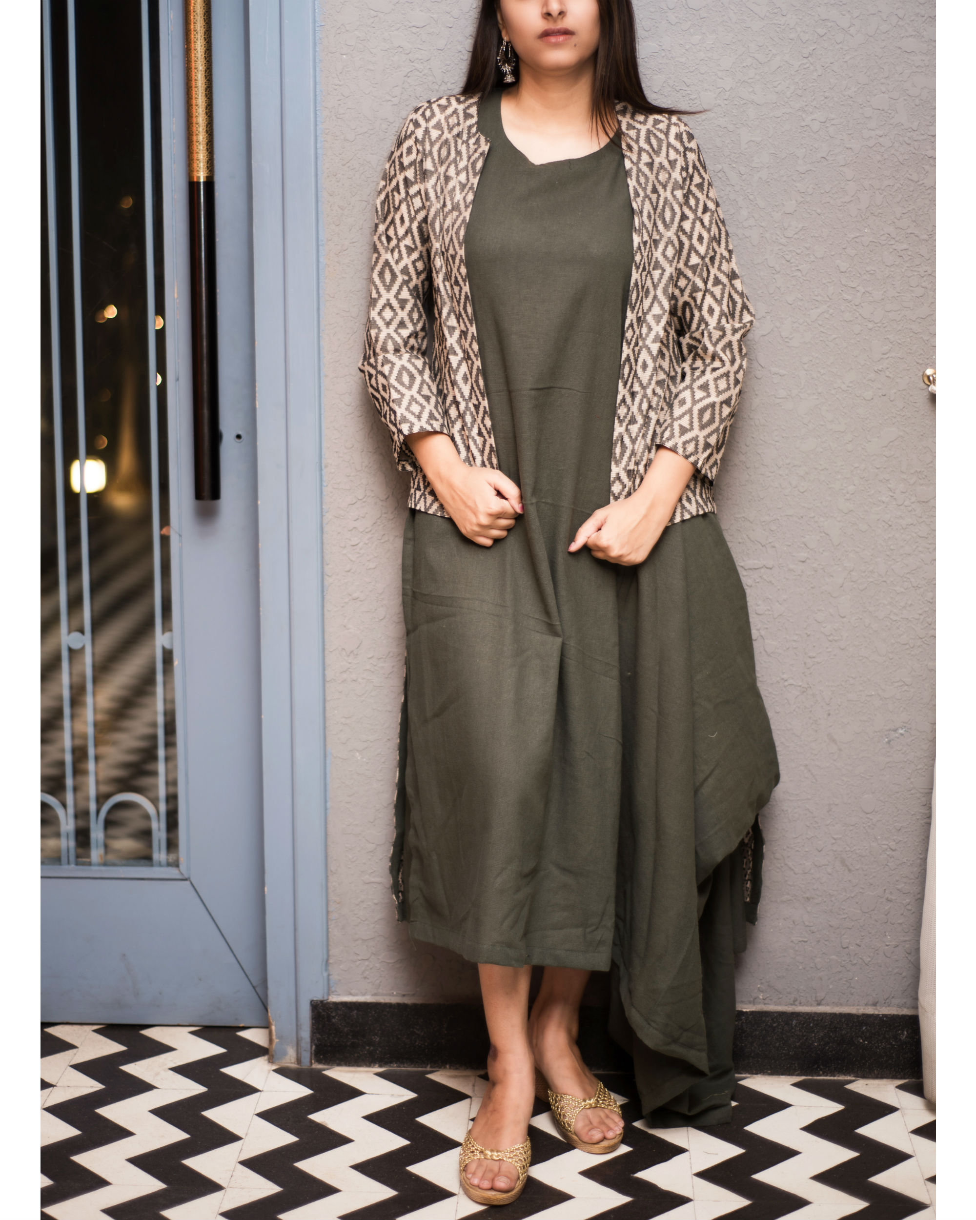 84a20ee20ee48 Green cowl dress with ikat trail jacket by Label Harsha Khatry