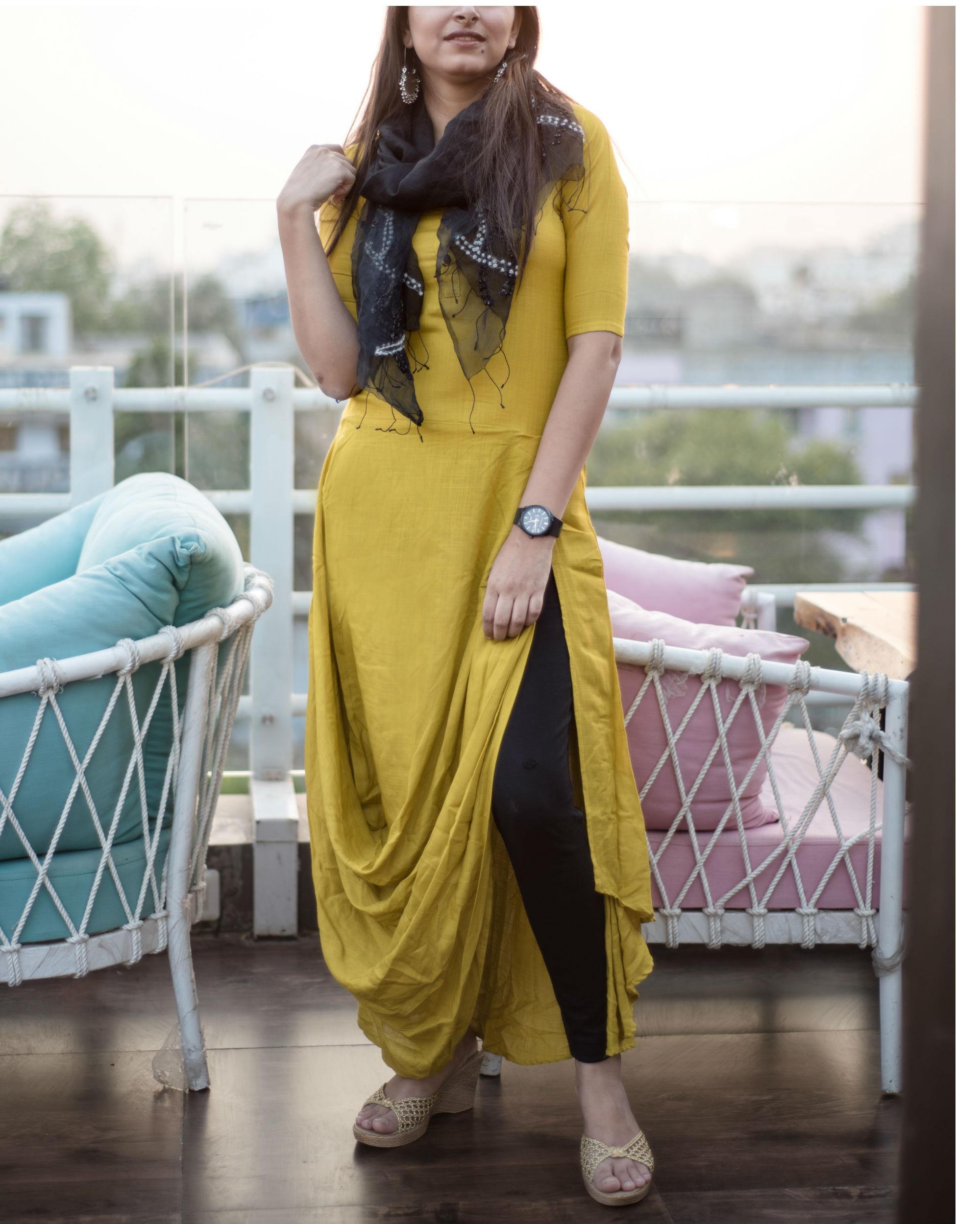 2cb22a10bdf79 Lemon green cowl dress by Label Harsha Khatry