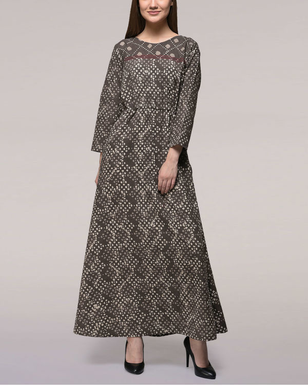 Ash black tie-up waist dabu-printed cotton dress
