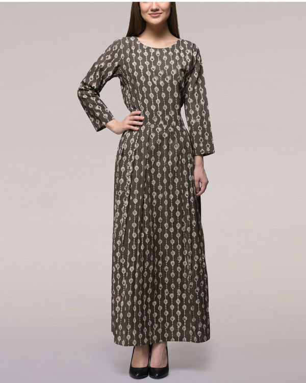 Ash black pleated dabu-printed cotton dress