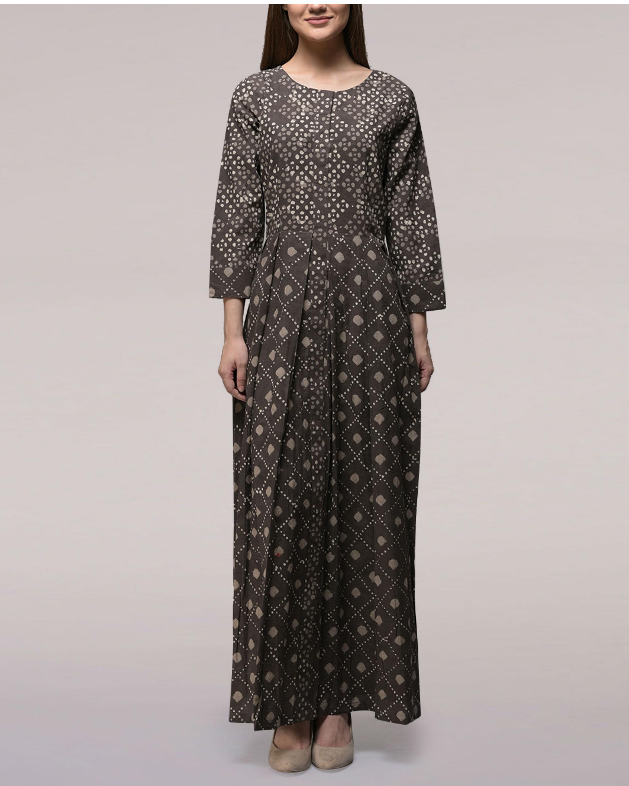 Ash black yoke dabu-printed cotton dress