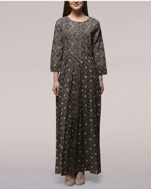 Ash black yoke dabu-printed cotton dress