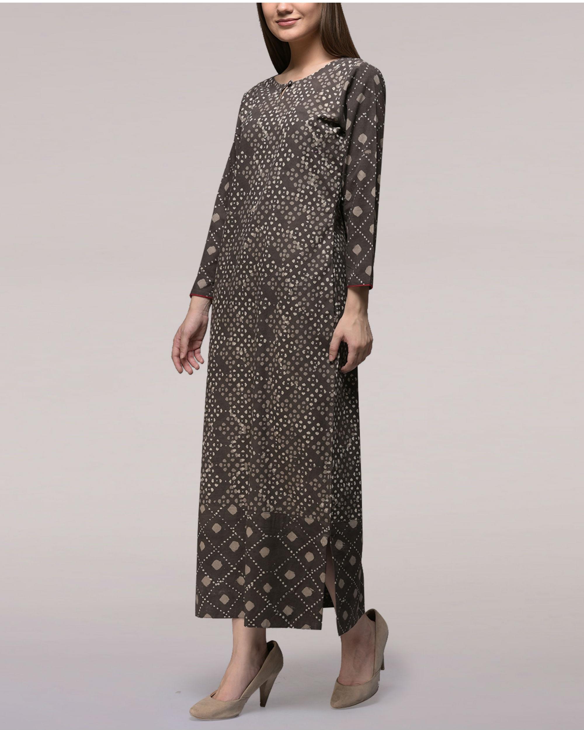 Ash black dabu-printed cotton patch dress