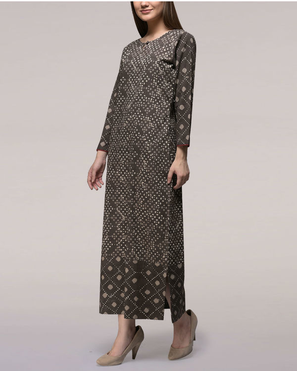 Ash black dabu-printed cotton patch dress