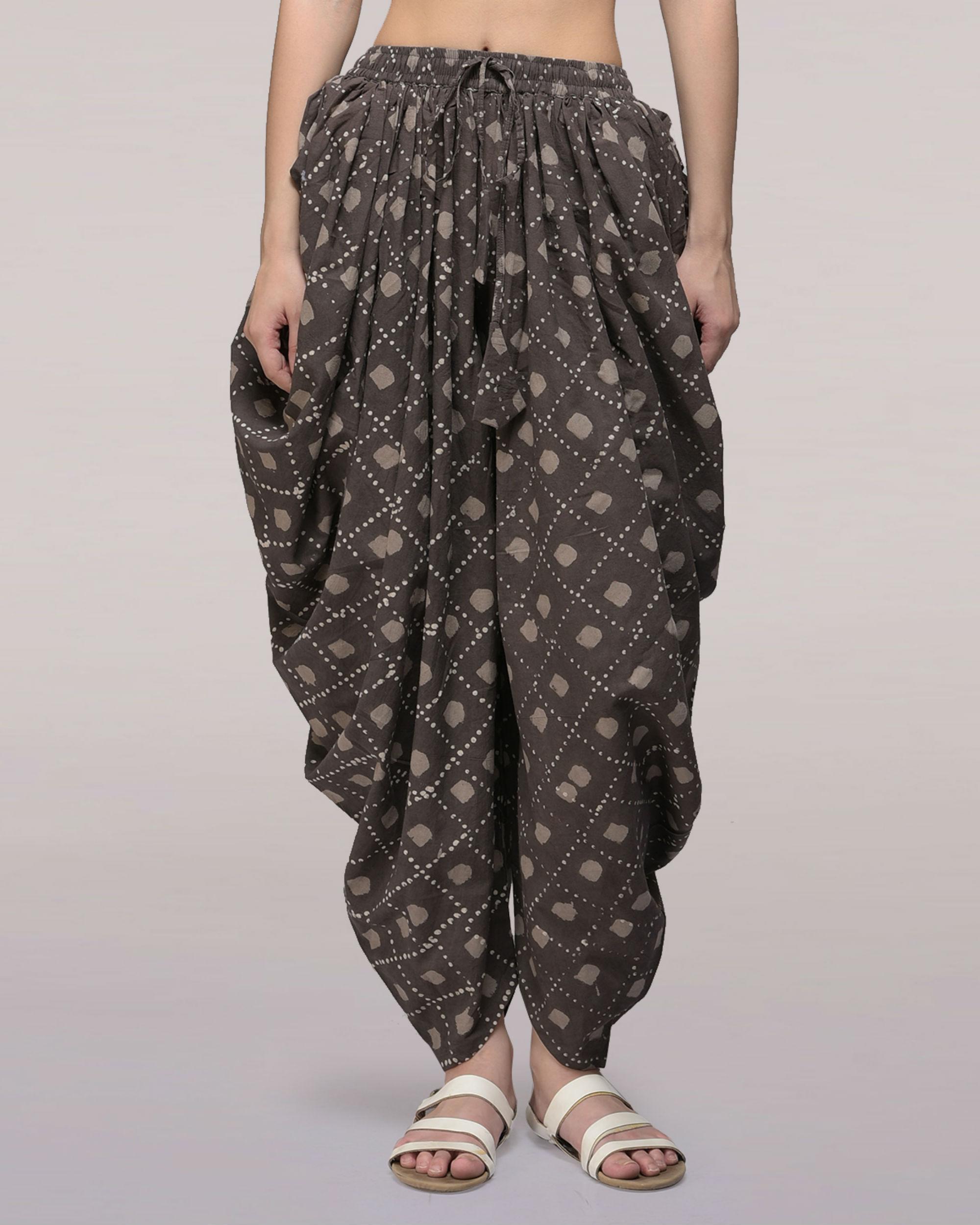 Ash black elasticated waist cotton dhoti pants