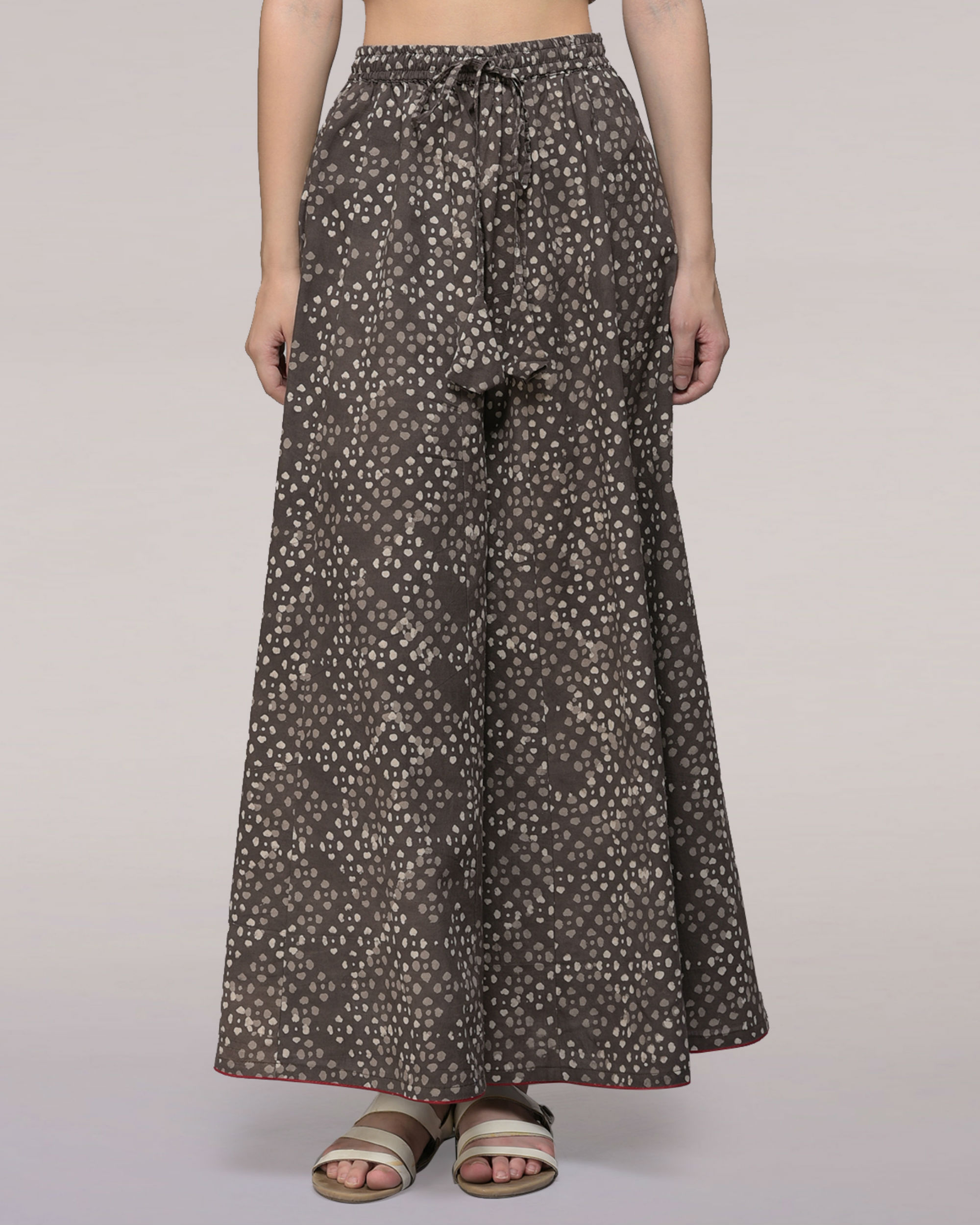 Ash black elasticated waist cotton palazzos