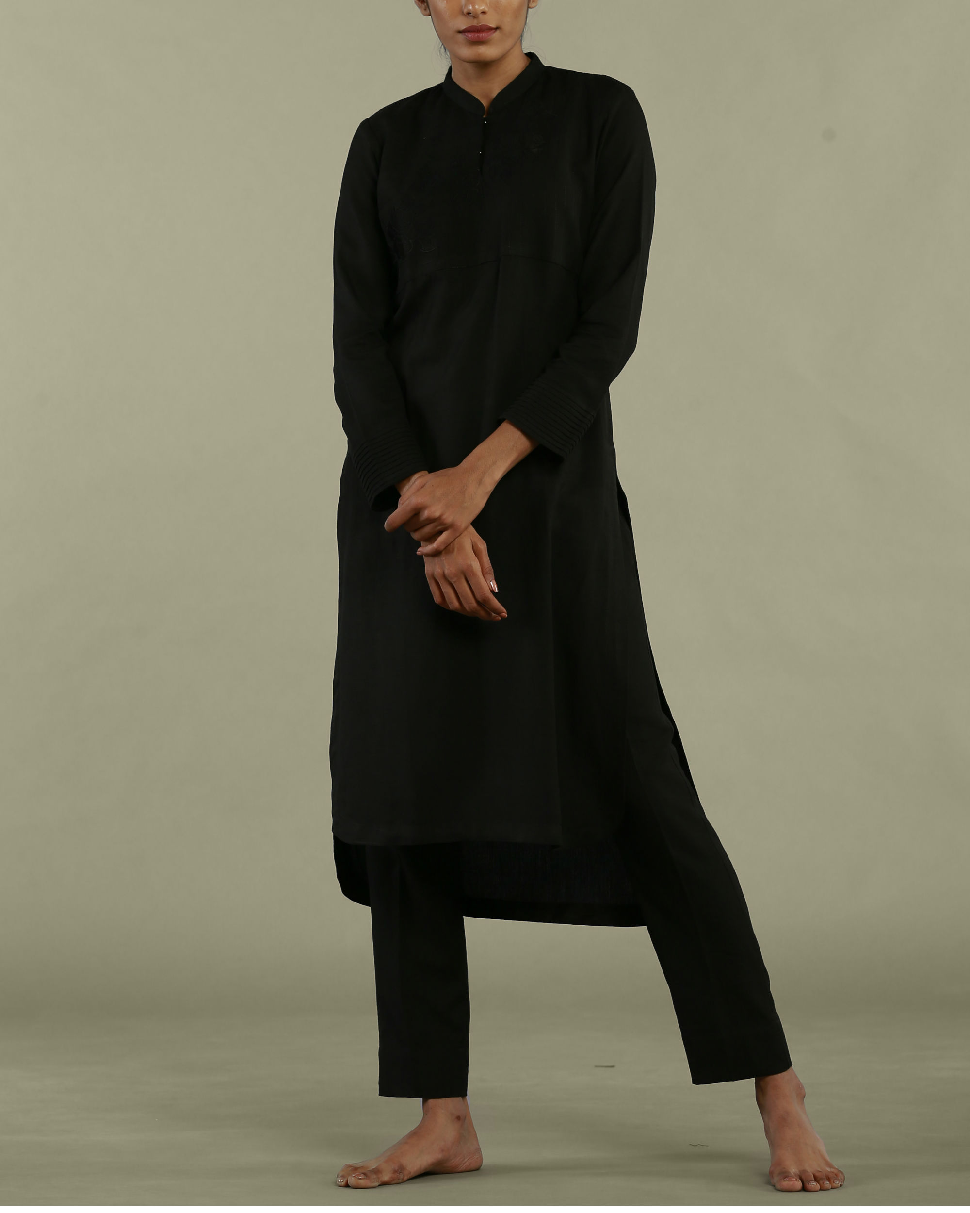 Black tunic with collared neckline