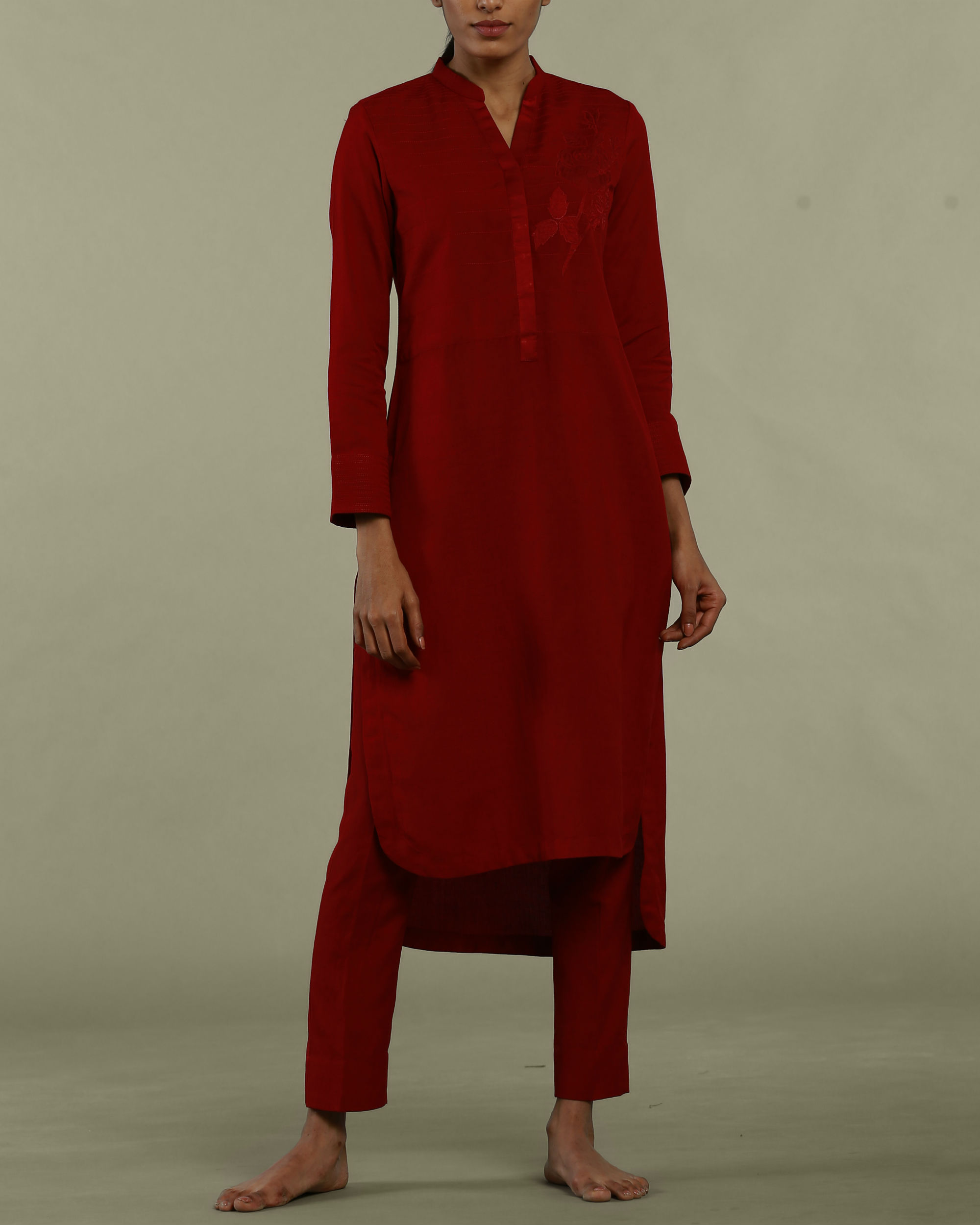 Red tunic with collared neckline