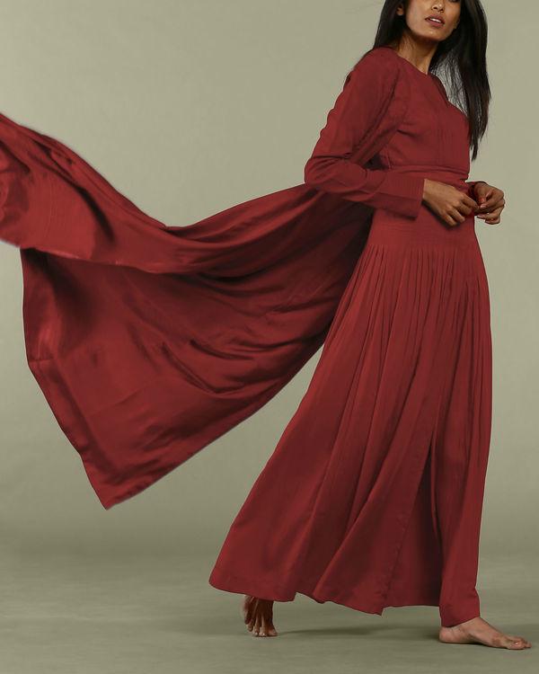 Red satin long overcoat