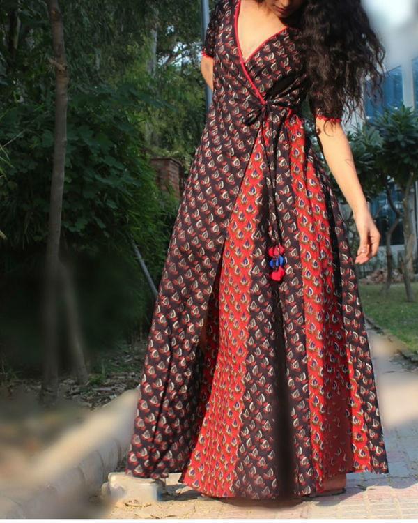 Mystical black wrap dress