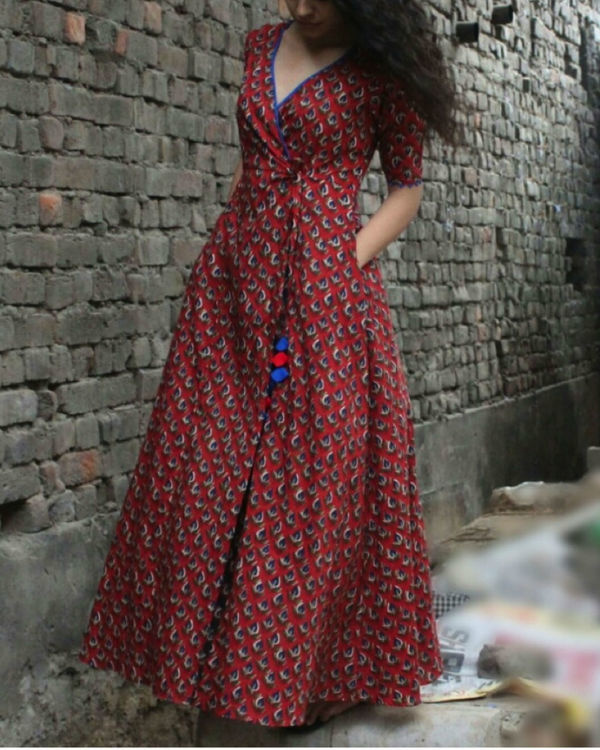Brick red wrap dress