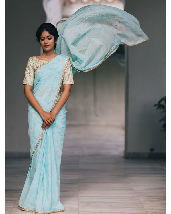 Celestial blue and gold sari