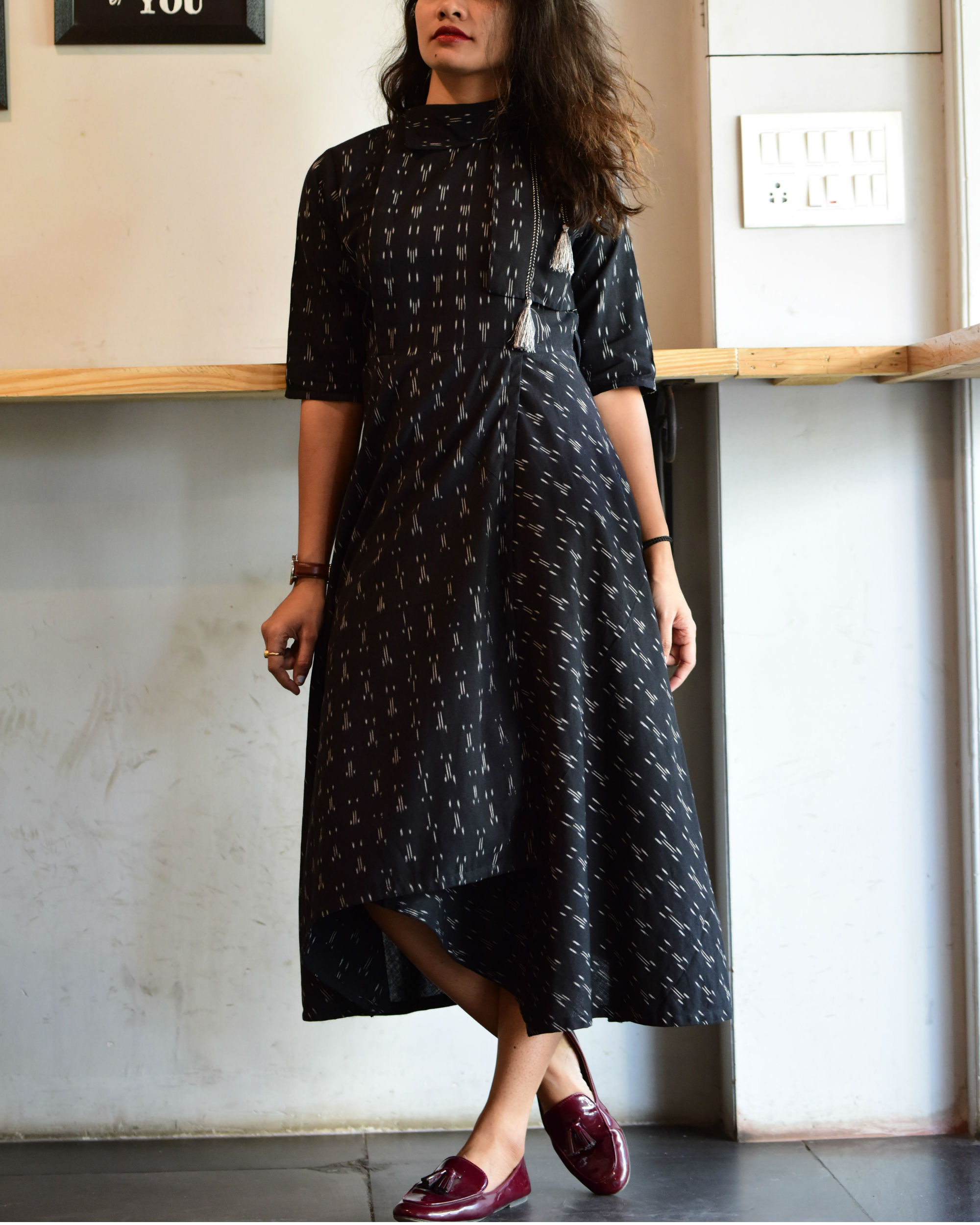 936a43220a12c Black ikat trench dress by Label Harsha Khatry
