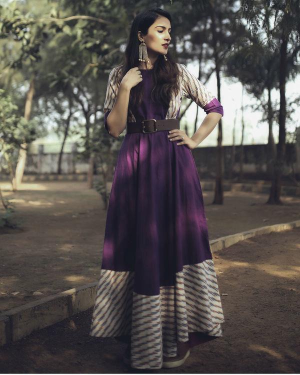 Purple and white striped dress