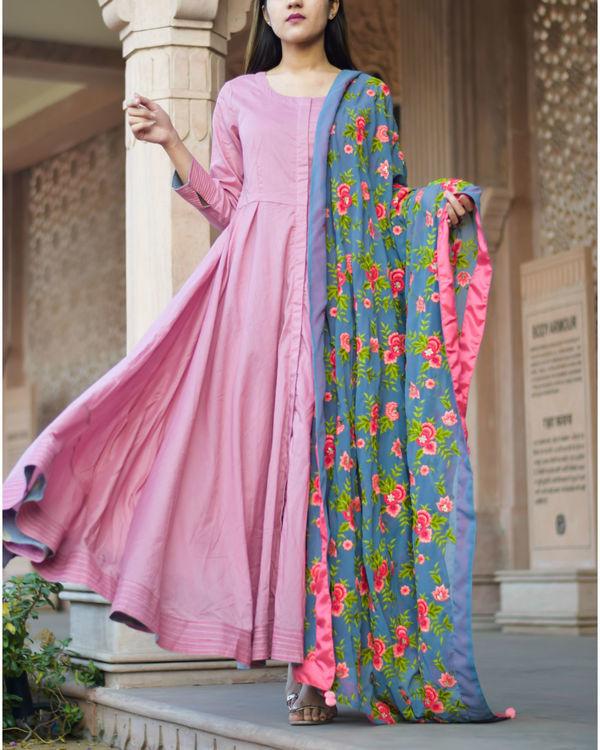 Rose pink anarkali dress with floral dupatta