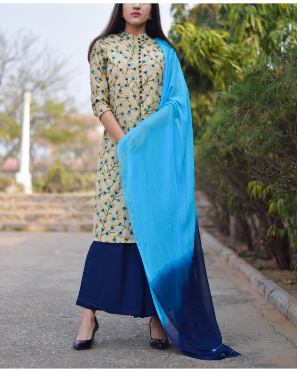 Beige floral kurta and navy palazzo set