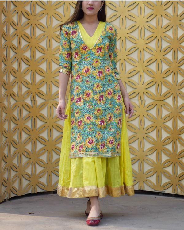 Yellow floral double layered dress