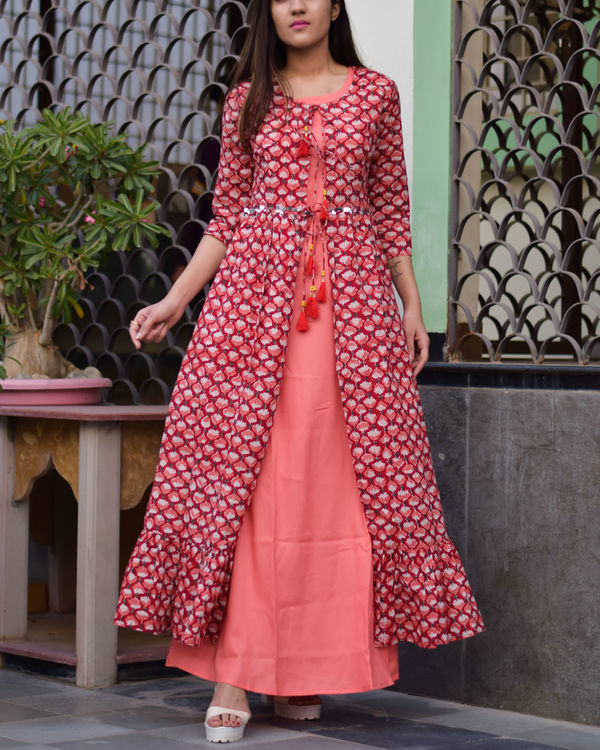 Red and peach double layered dress