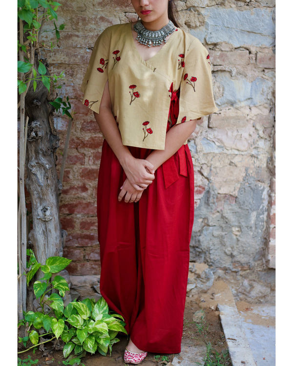 Opium poppy angrakha top  with wide legged pants