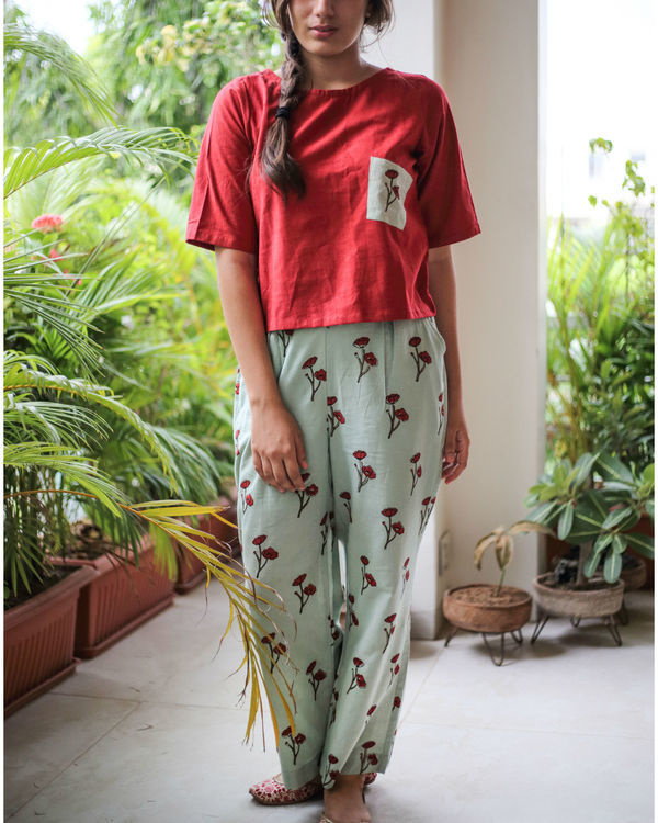 Opium poppy pants with berry red top