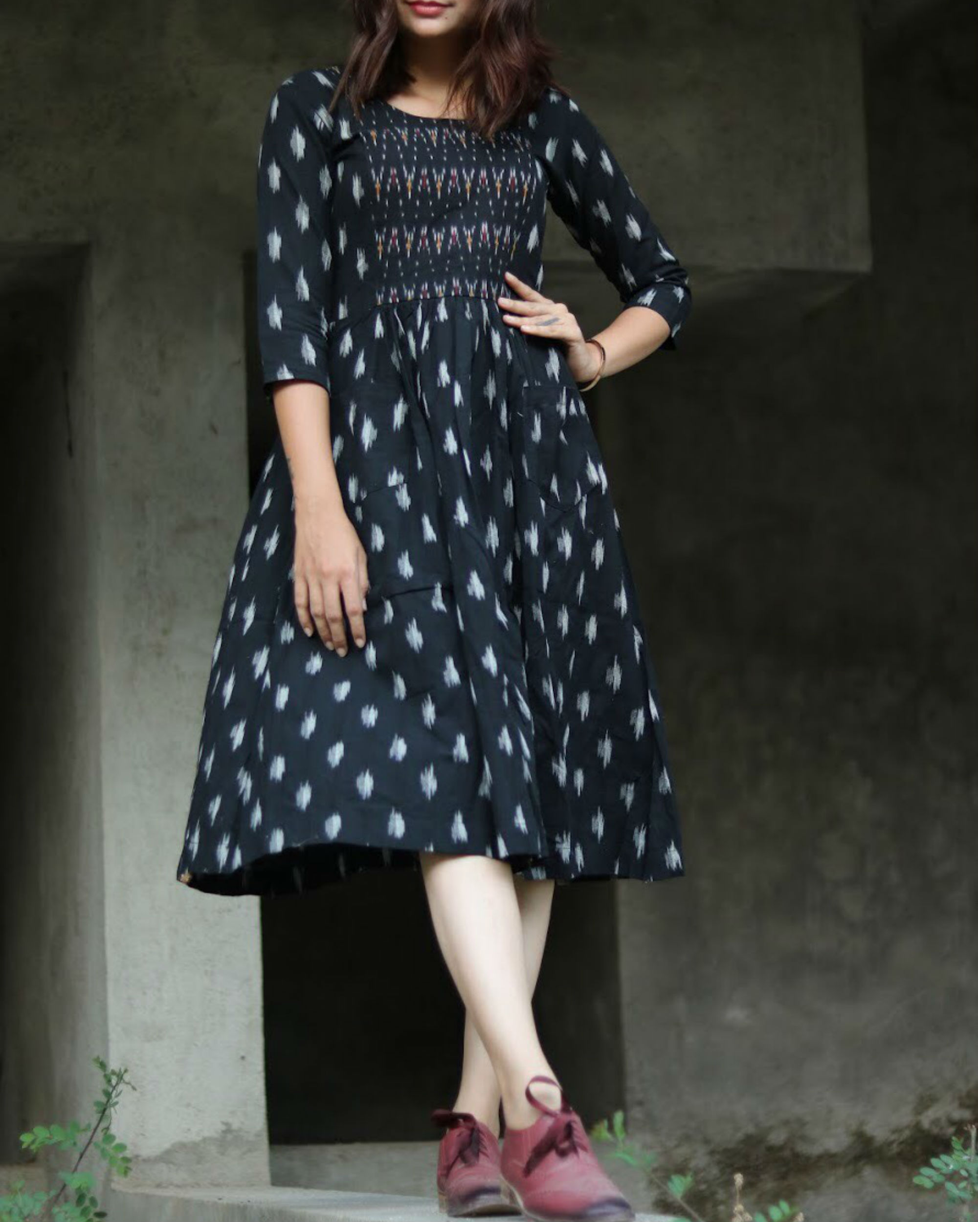 Black and white hand woven ikat dress