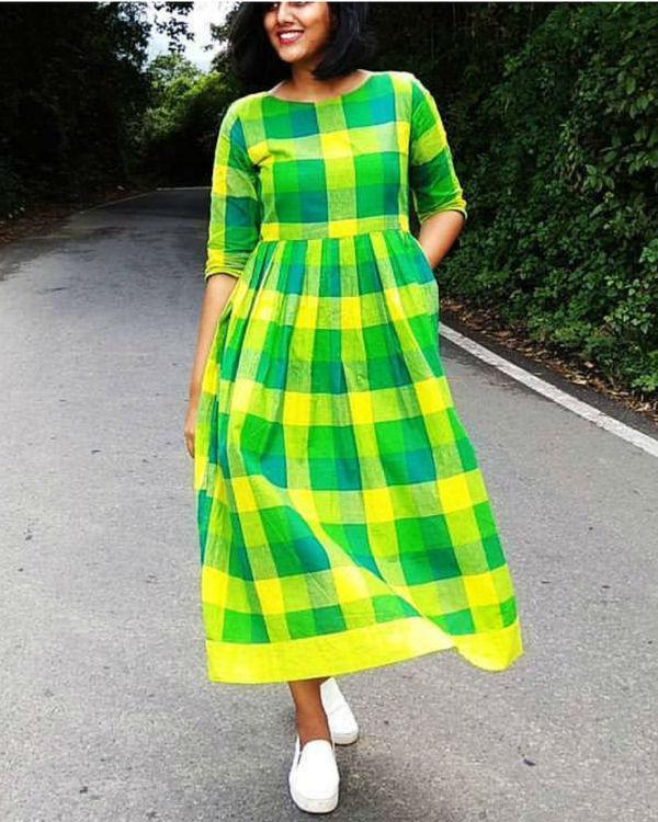 Green and yellow checks cotton dress