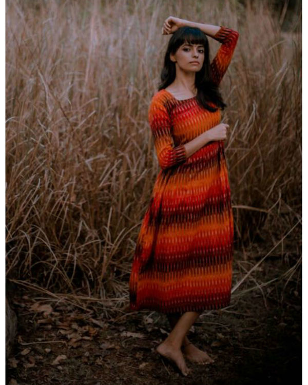 Sunset hand woven ikat dress