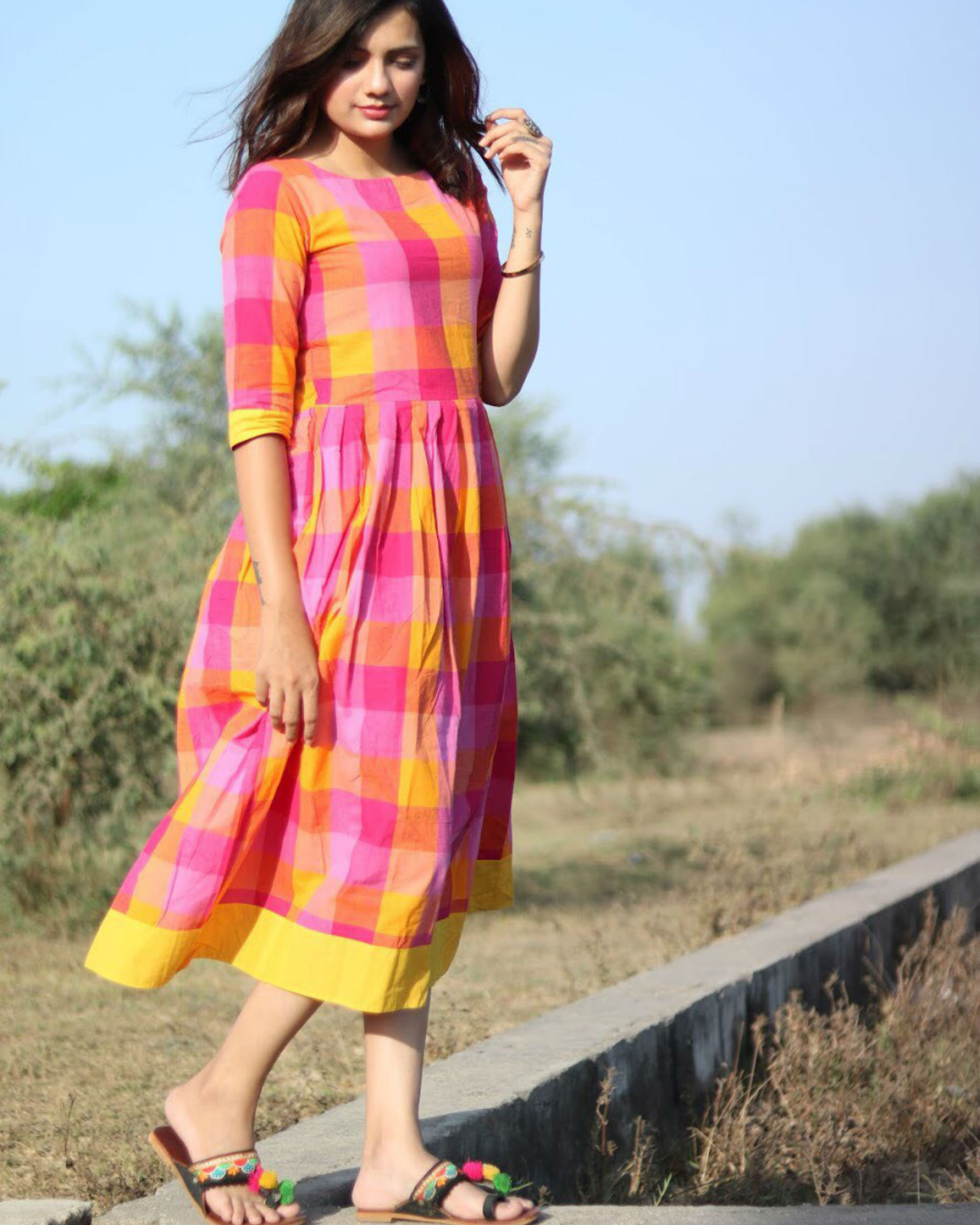 Pink and yellow checks cotton dress