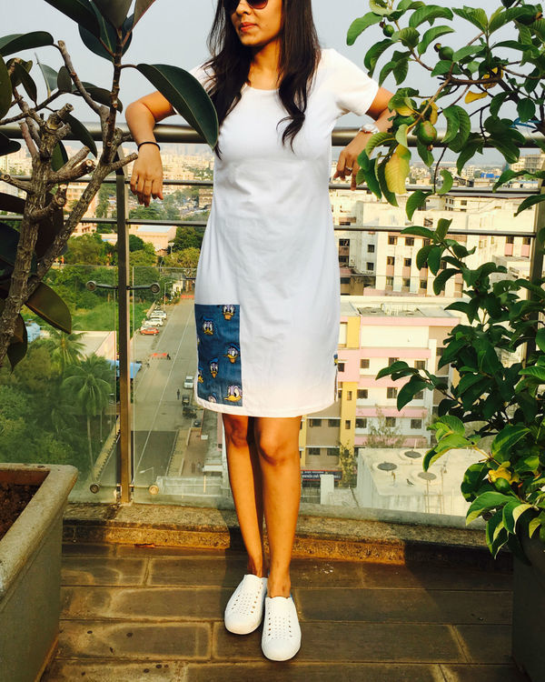 White t-shirt dress with pocket