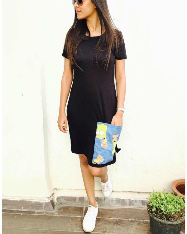 Black t-shirt dress with pocket