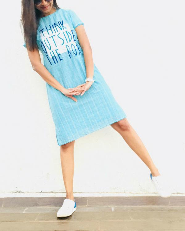Blue cotton midi dress
