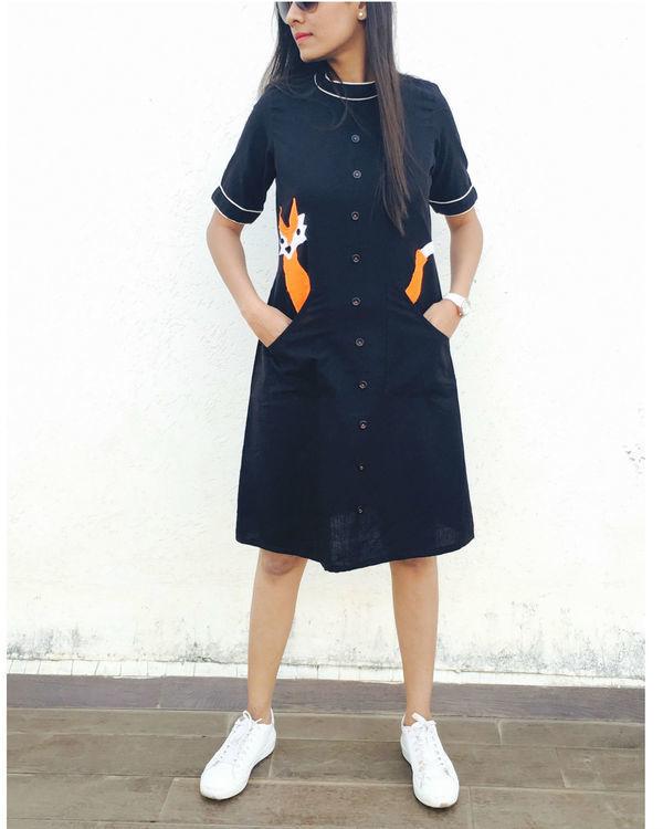 Black fox dress with pockets