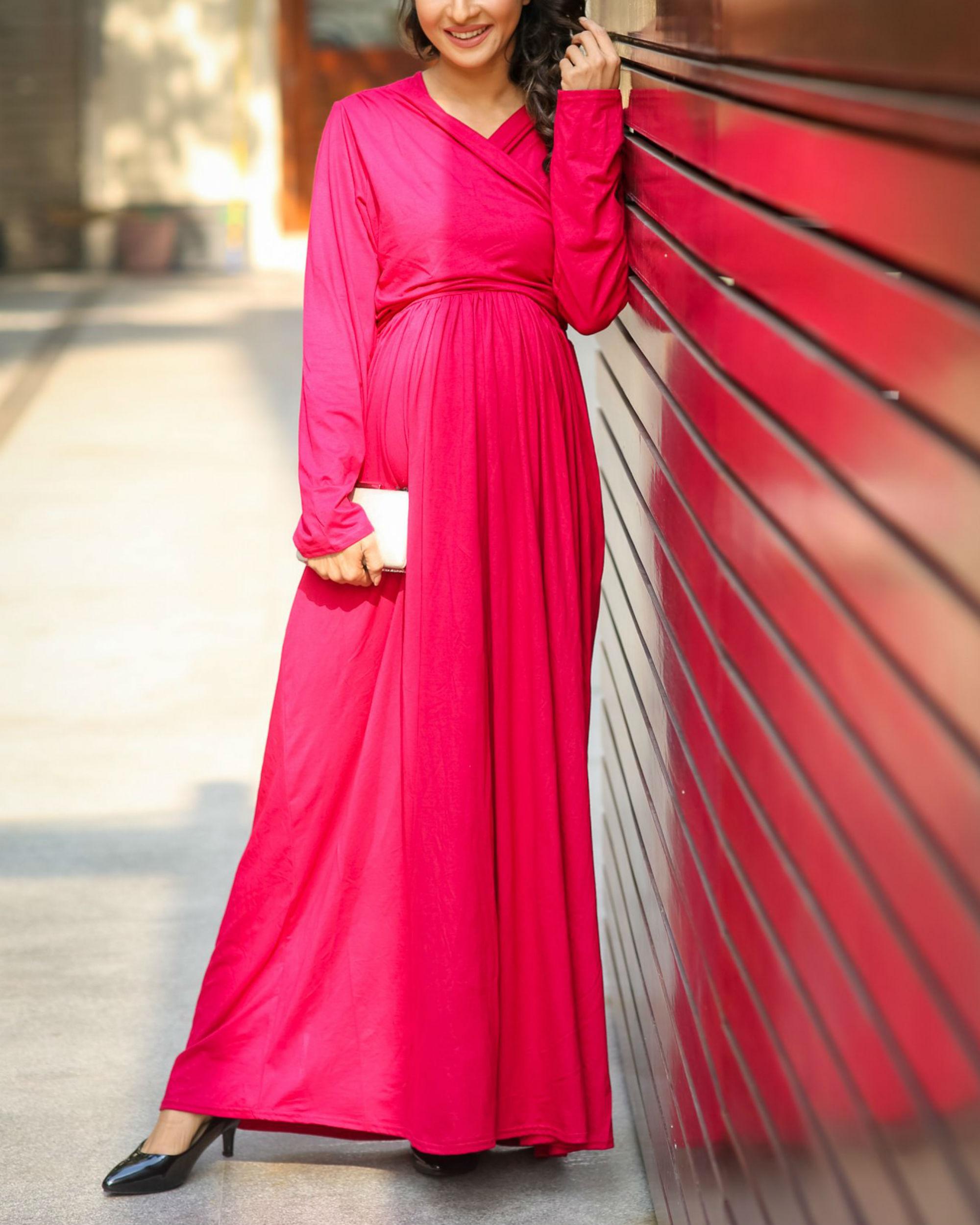 Royal carnation maternity & nursing lycra wrap dress