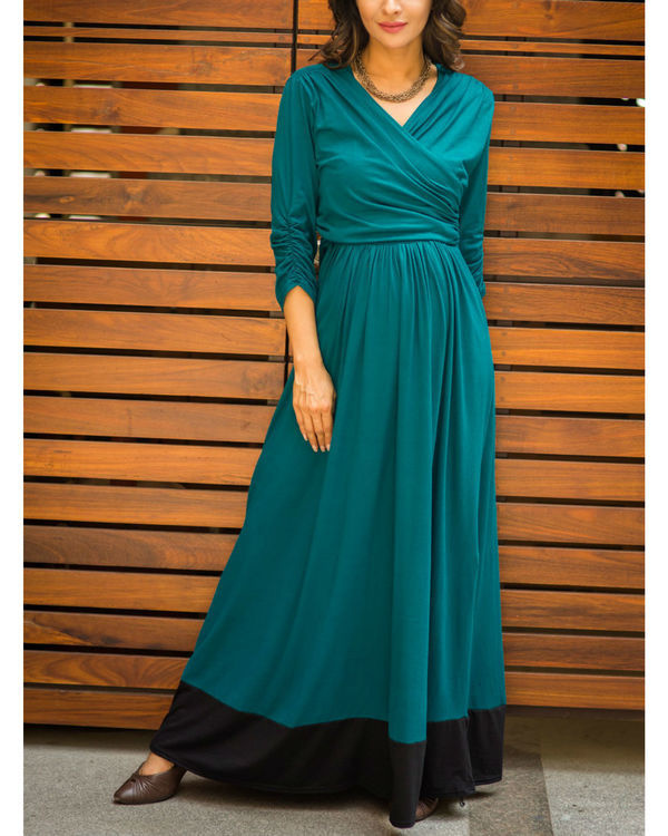 Elegant teal front wrap maternity & nursing dress