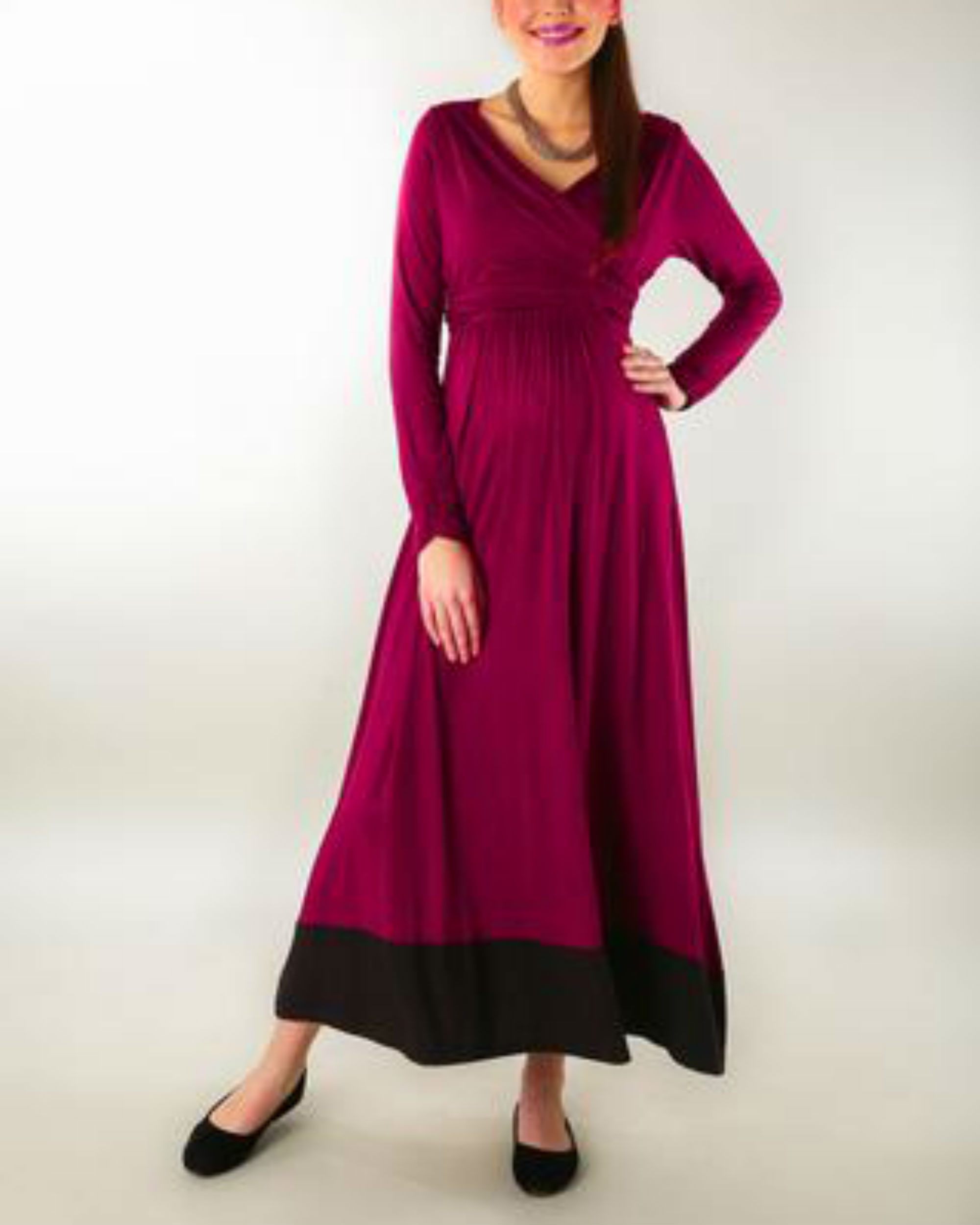 Elegant mulberry wine front wrap maternity & nursing dress