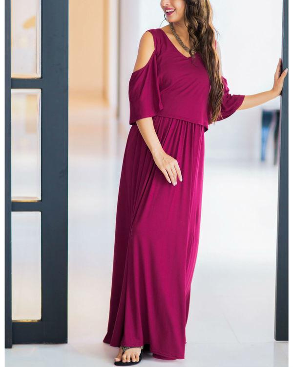 Sangria cold shoulder maternity & nursing maxi dress
